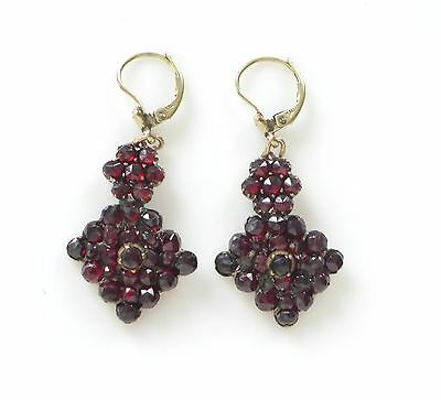 Vtg Victorian Rose Cut Bohemian Garnet Gilt Dangle Drop Earrings Gold Doublé