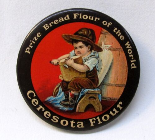 c. 1915 CERESOTA FLOUR brown border advertising celluloid pocket mirror *