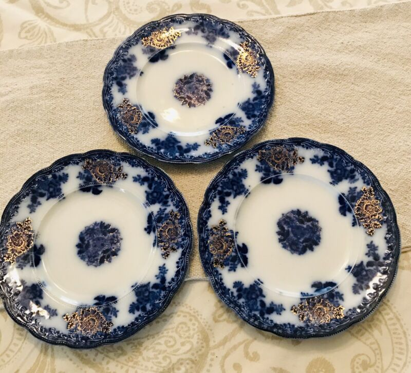 "ANTIQUE FLOW BLUE Set of 3 PLATES WALDORF NEW WHARF POTTERY ENGLAND Gilded 8"""