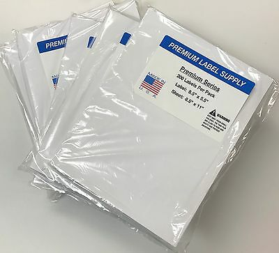 1000 Premium 8.5 X 5.5 Half Sheet Self Adhesive Shipping Labels -pls Brand-