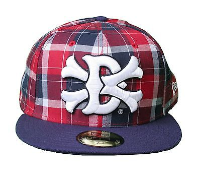 Dissizit Dx11 Bones Navy Red Plaid New Era 59FIFTY Fitted Baseball Hat Cap NWT ()