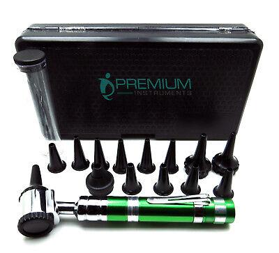 ENT Otoscope Green Handle 14 Speculas Examination Diagnostic Premium Instruments