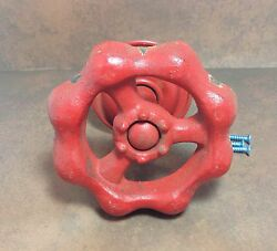 Industrial Co-oped Distressed Large Red Nozzle Wall Hook/Hanger Clock Picture