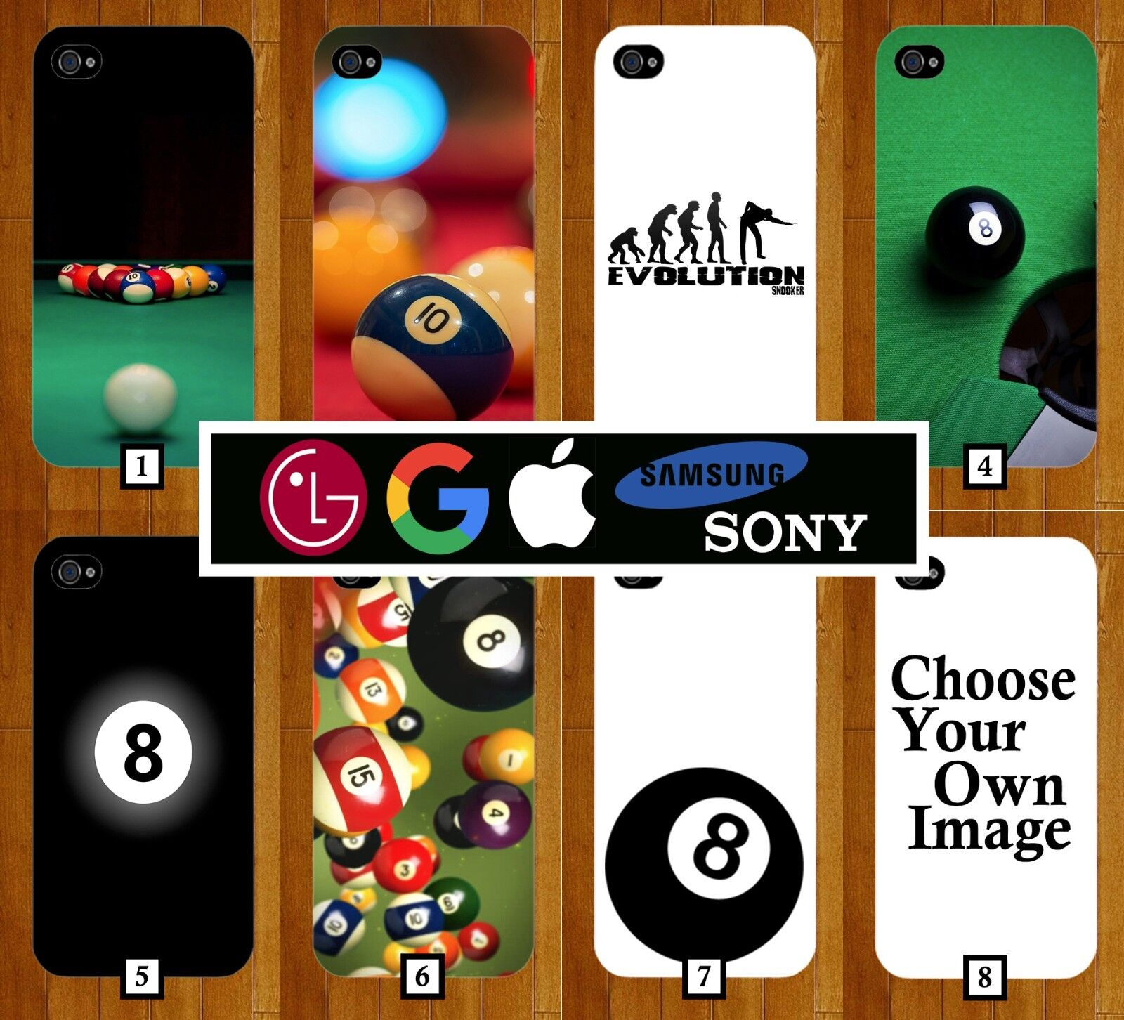 Snooker Phone Case Cover Pool 8 Balls Ball Eight Black and White 3D Novelty 215