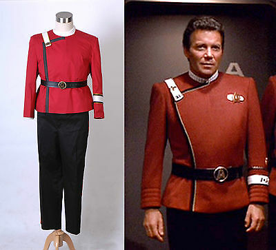 Star Trek II-VI Wrath of Khan Cosplay Starfleet Kapitän Kirk Uniform Kostüm Rot