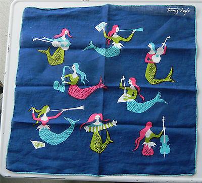 Vintage Retro Tammis Keefe Musical Mermaids Hanky Handkerchief Hankie!