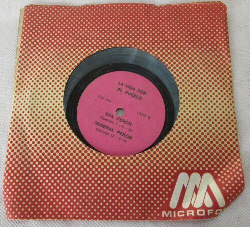 "VINTAGE EVA PERON VINYL RECORD JUAN DOMINGO PERON SPEECH ""LIFE FOR THE PEOPLE"""