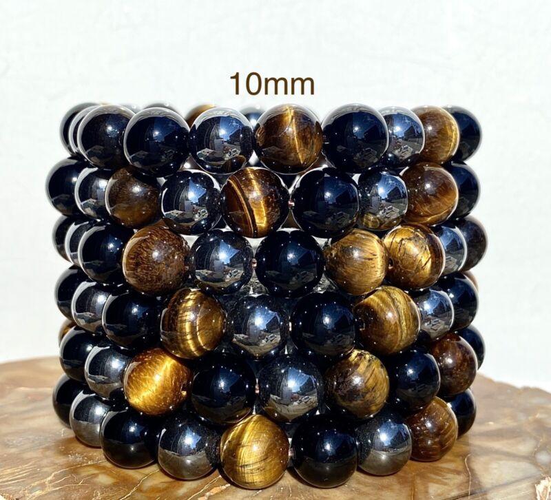 "Wholesale 6 Pcs Natural Tiger Eye Hematite Black Onyx 10mm ~8"" Crystal Bracelet"