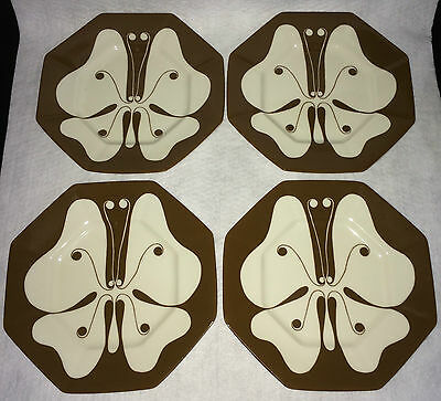 Vintage Set of 4 Fitz and & Floyd Allegro Butterfly Brown Salad Plates