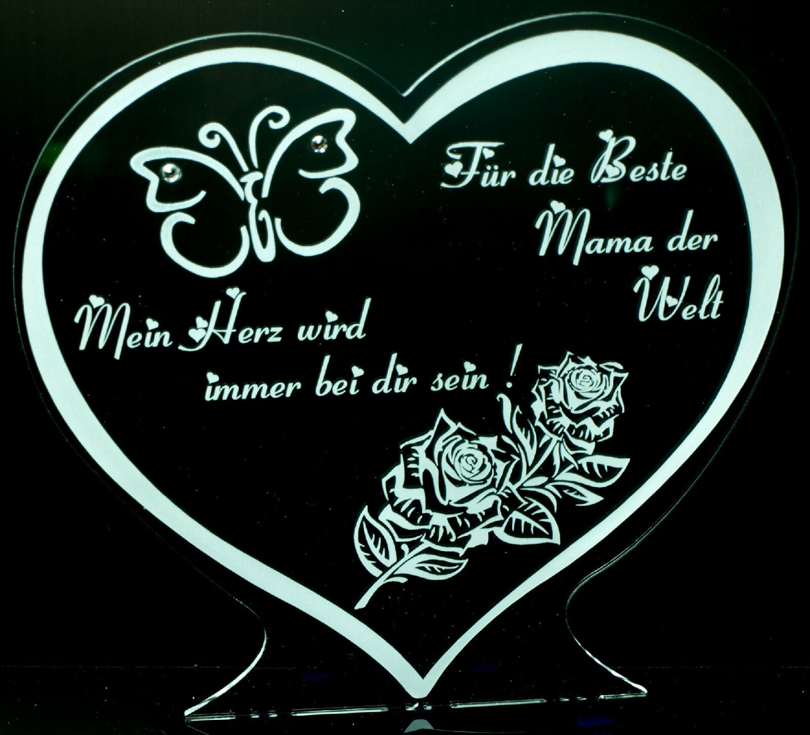 Beste Mama der Welt ! 1 Aufsteller Herz z.b. Muttertag Acrylglas graviert