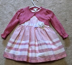 Pink and white dress and cardigan set 9-12months