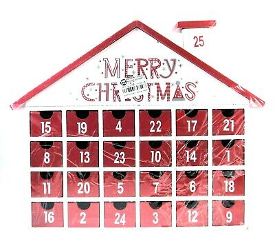 Merry Christmas Advent Calendar Wood House Chimney White Red Holiday Xmas Decor