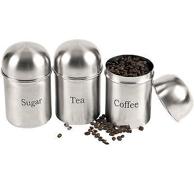 3PC SET OF COFFEE SUGAR TEA JARS STAINLESS STEEL STORAGE POT NEW JAR CANISTERS