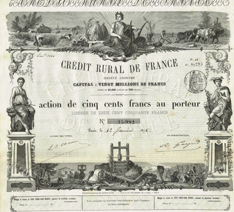 FRANCE  RURAL CREDIT OF FRANCE stock certificate 1875..OLD BEAUTY