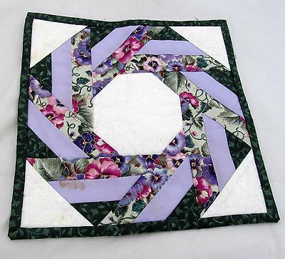 Handmade Quilted Flower Floral Square Quilt Table Topper Candle Mat Placemat