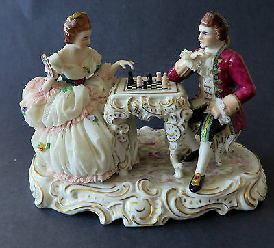 Porcelain Figurine German Dresden Lace Chess Players,  Muller & Co Volkstedt 7""