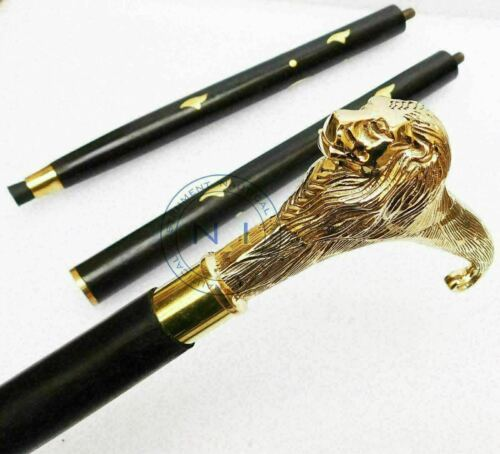 solid brass lion head Handle Vintage Wooden Walking Stick Cane Antqiue Gift