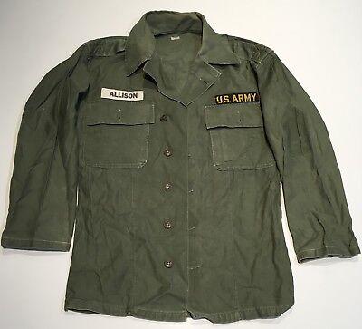 Original Named Vietnam US Army OG-107 Men's Cotton Sateen Utility Shirt Patches
