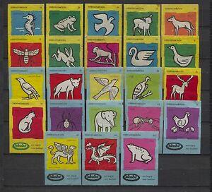 Nice-Lot-Enkabe-Animal-Symbols-Serie-Vintage-Matchbox-Labels