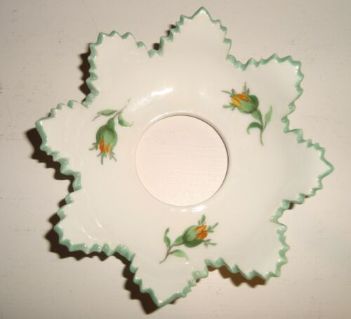 Single Antique Signed Authentic Meissen Porcelain Floral Spray Candle Bobeche
