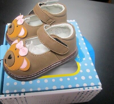 NEW WEE SQUEAK BABY GIRLS HONEY BEAR LEATHER MARY JANE SQUEAKY SHOES SZ (Baby Girl Squeak Mary Jane)