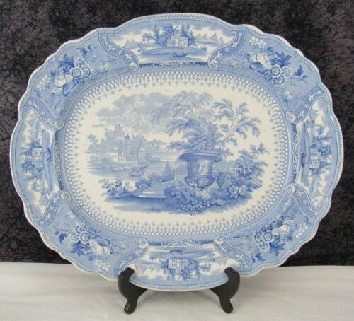 Antique Staffordshire No 7 Dancing Hours Urn Blue Transferware Pearlware Platter