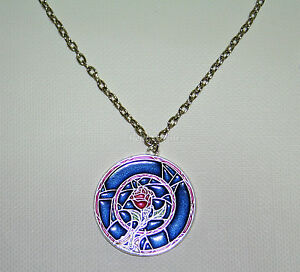 New disney beauty and the beast belle rose stained glass for Disney beauty and the beast jewelry