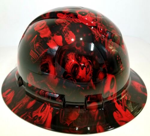 FULL BRIM Hard Hat custom hydro dipped, NEW CANDY  RADIOACTIVE RED BANDITO GIRLS 1
