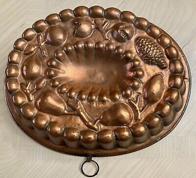 Vintage French Oval Copper Cake Jelly Jello Mold Mould Fruits, 13 1/2 X 11