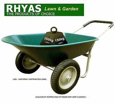 Twin Wheel Wheelbarrow Two 2 Pneumatic Tyres Large Hopper Stable Garden