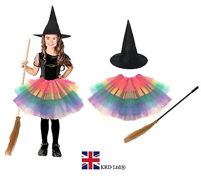 Deluxe Girls Toddler MISS WITCH Halloween Fancy Dress Costume Outfit UK ()