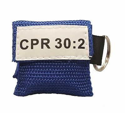 1 Blue Cpr Face Shield Mask In Pocket Keychain Imprinted Cpr 302