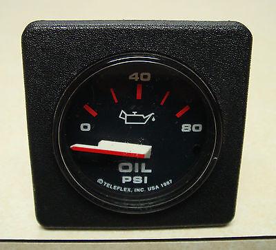 """Teleflex  11180 Boat Marine Oil Pressure 80 PSI Square Gauge 2"""" Cutout"""