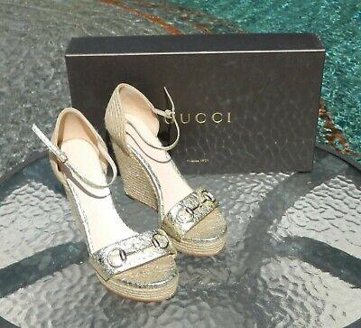 Authentic $650 Gucci Metallic Gold Horsebit Woven Platform Sandals Sz39.5/9.5EUC Gold Woven Platform