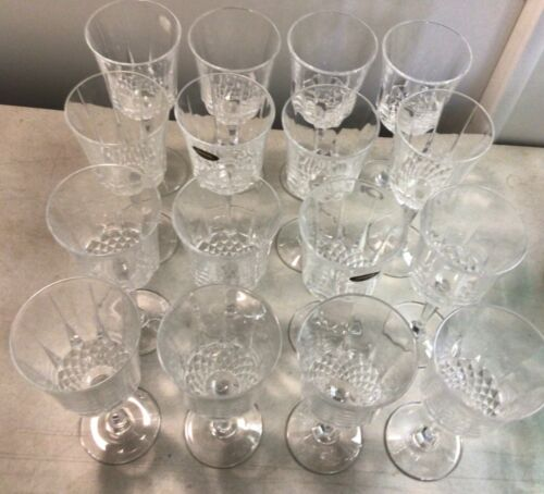 """Set of 14 Luminarc Diamant 24% Lead Crystal Wine Glasses 8"""" Tall Made in U.S.A"""