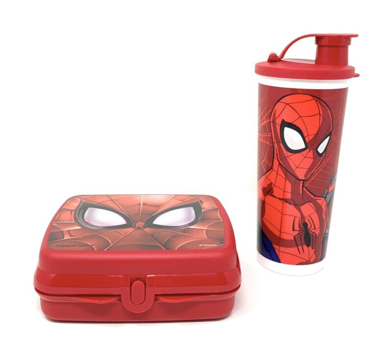 Tupperware Spiderman Lunch Set Sandwich Keeper & Tumbler NEW