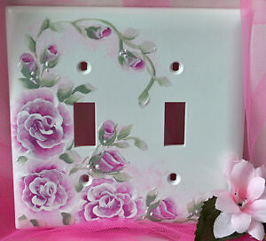 RASPBERRY ROSES pink Hand Painted DOUBLE Switch plate cover shabby cottage chic