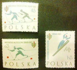 POLAND-STAMPS MNH Fi1149-51a Sc1046-48 Mi1294-96a - Championship Ski Cup, 1962 - Reda, Polska - POLAND-STAMPS MNH Fi1149-51a Sc1046-48 Mi1294-96a - Championship Ski Cup, 1962 - Reda, Polska