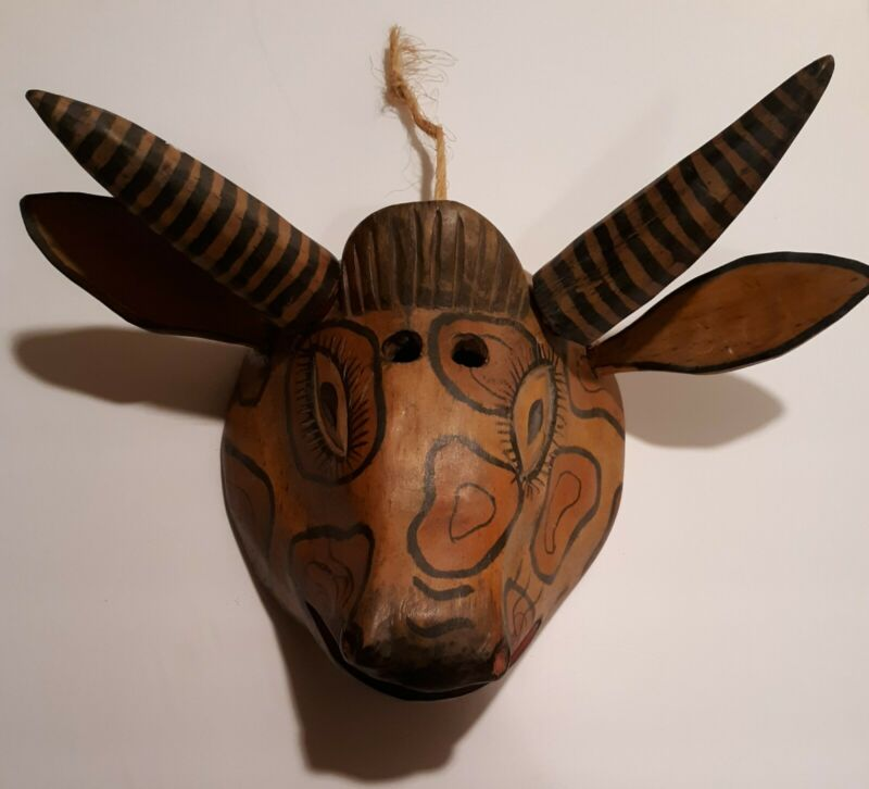 Vintage Mexican Dance Mask, Spotted Hyena, Handmade Mask, Folk Art