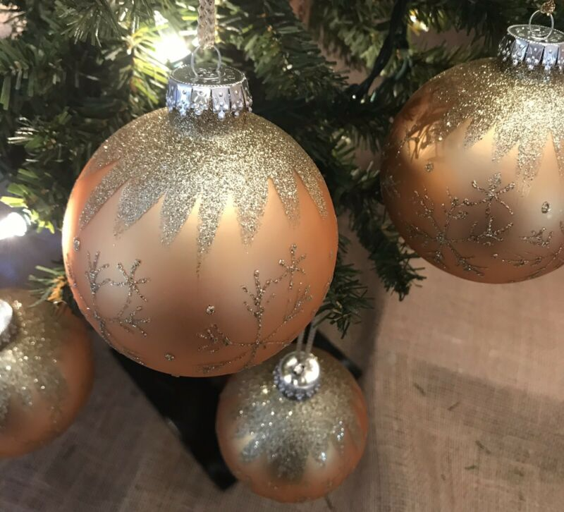 3 Inch Glass Christmas Tree Ornaments Gold With Glitter