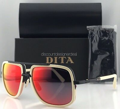 ba4f3af842f DITA MACH ONE Square Sunglasses Bone White Black Red Mirror Lens DRX-2030  NWT