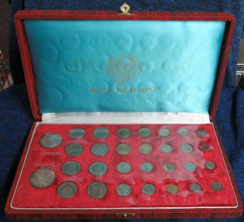 1963 Thailand 30 Coin Set with 2 Large Silver Coins Original Royal Thai Mint Box