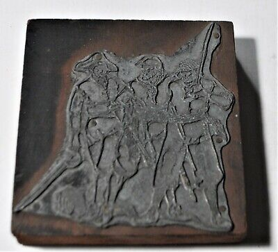 Vintage Three Pirates With Swords Letterpress Printers Block