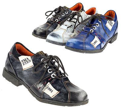 TMA Damen Halbschuh Leder Frauen Schuhe Freizeit Schnürer 1822 schwarz blau weiß - Weiß Schwarz Leder Schuh