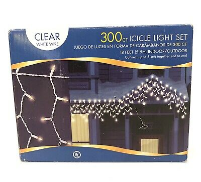 300 Light Icicle Light Set White Wire Clear Bulb Outdoor/Indoor 18 feet
