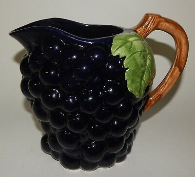 Ceramic Purple Grape Water Pitcher With Green Leaves Brown Branch Handle