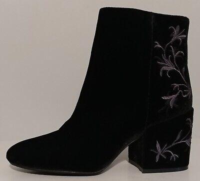 "NEW!! Kenneth Cole Black Velvet Ankle Boots 3"" Block Heels Size 8.5M US 38.5M EU"