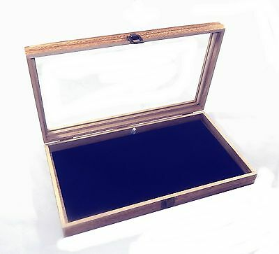 Oak Stained Wood Glass Top Blue Pad Display Box Case Pins Medals Jewelry Knife