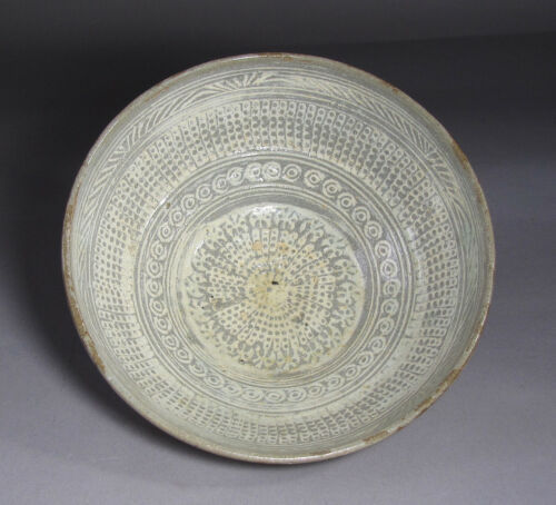 A Very Fine Korean Buncheong White Slip Inlaid Bowl-15th C.: