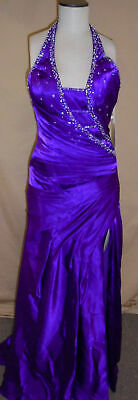 High-slit Skirt (Clarisse Women's Asymmetrical Deep V-Neckline High Slit Skirt Purple Size 6 NWT)